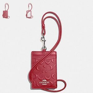 🆕 Coach Signature ID Badge Lanyard Washed Red